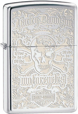 Zippo 28229, Harley Davidson-Skulls, HP Chrome Lighter,  ***6 Flints/Wick***