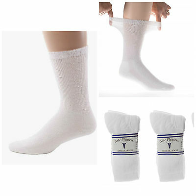 Wholesale Lot 60 Pair Mens Diabetic Crew Socks Size 10-13 Large Solid White