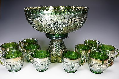 Imperial Green Carnival Glass Grape Punch Bowl Set w/ 10 Cups