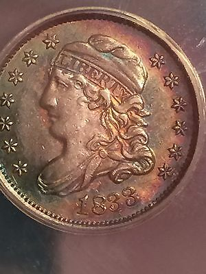 1833 Capped Bust Half Dime ANACS AU55-Subtle Magenta & Blue/Green Toning