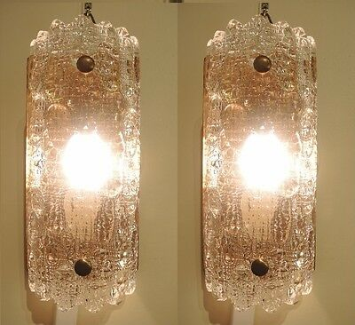 Vintage Pair Orrefors Wall lights sconces Carl Fagerlund Geffion