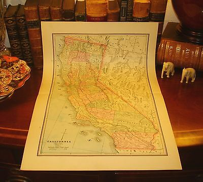 LARGE Original 1891 Antique Map CALIFORNIA San Francisco Sacramento Oakland CA