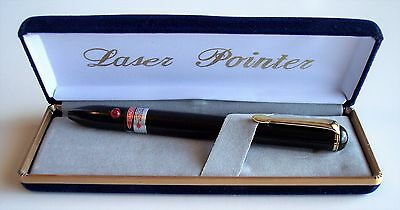 Nib Stylish Executive Laser Pointer In Velour Gift Box Blk W/gold Trim--Red Beam