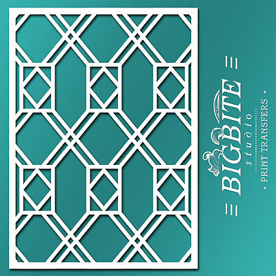 Decor Pattern STENCIL: Window Glass Trellis 02 (Furniture Print Transfer) #067