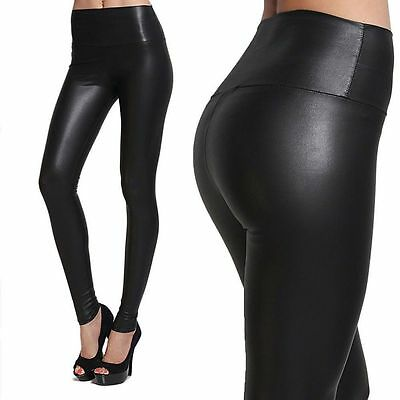 New Fahion Womens Faux Leather High Waist Leggings Pants Wet Look US Stock AM