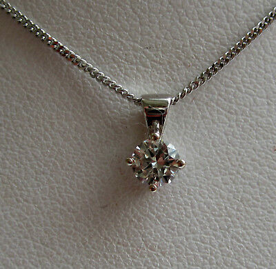 Brand New .30ct Diamond Solitaire 9ct White Gold Pendant & Chain freepost
