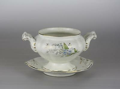 Antique Imperial Russian Porcelain Floral Gravy Bowl  by Kuznetsov factory