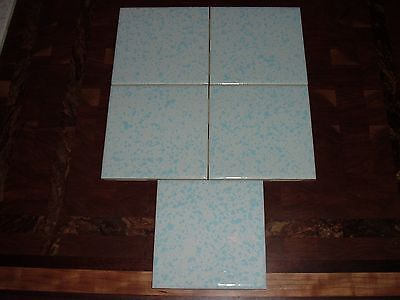 vintage wall tiles florida tile co 5 nos 4 1/4 x4 1/4 white with blue speckle