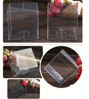 100pcs Wedding Favour Sweet Candy Cake Gift Boxes Transparent PVC Cube Gift Bags