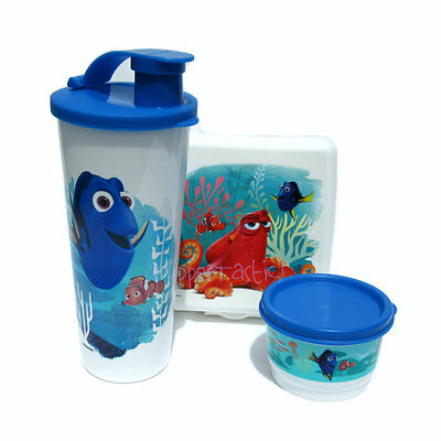 Tupperware NEW Finding Dory Lunch Set Sandwich Keeper Tumbler Snack Cup Nemo