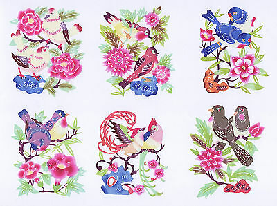 Chinese Paper Cuts Two Birds over flowers Set 10 small colorful pieces Zhou