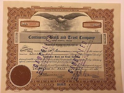 1936 Continental Bank & Trust Company Stock Certificate Ft Worth, Texas Type 3