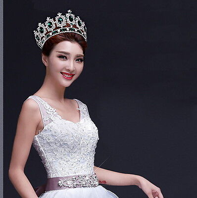 """6.7"""" Wide Large Emerald Green Crystal King Crown Wedding Prom Party Pageant"""