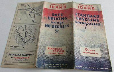 1934 STANDARD OIL CO. Road Map Of Idaho, Gas Station Road Map, Gas & Oil Adv.