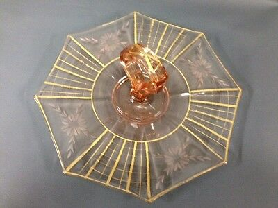 Vintage Pink Depression Glass Cake Plate W/etched & Gold Accents With Handle