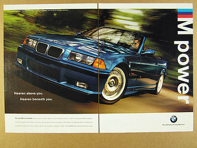 1998 BMW M3 Convertible blue car photo vintage print Ad
