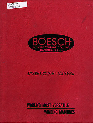 BOESCH Manual MW-400 MINITOR TORIDAL WINDING MACHINE
