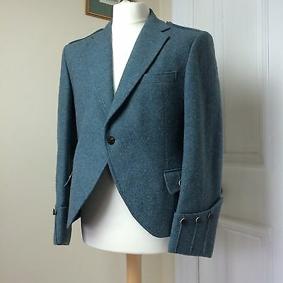 "Men's Vintage Tweed Wool Jacket Blue Grey Blazer Chest 40"" Unusual 50s 60s Art"