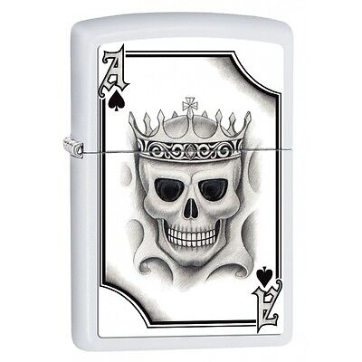 Zippo 2521, Ace of Spades-Skull, White Matte Finish Lighter, Full Size