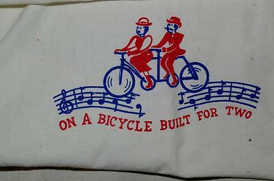 Antique Vintage Dish Towel On A Bicycle Built For Two