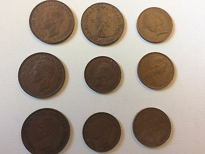 Lot of 9 British coins