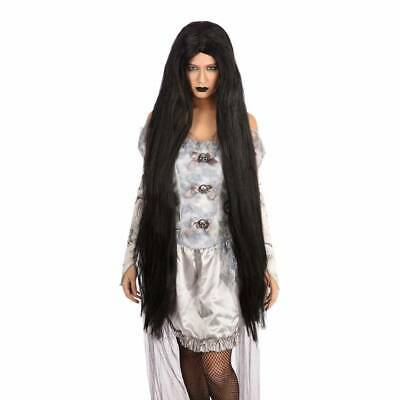 Black Silver Wig Bewitched Witches Long Halloween Fancy Dress Morticia Wig