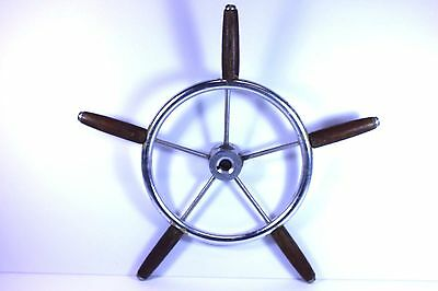 Antique Vintage Maritime Nautical Small Metal & Wood Ship Boat Wheel