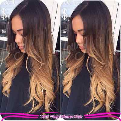 #T1b/4/27 8A Ombre Body Wavy Brazilian Human Hair Wig, 18 Inches 130% Density