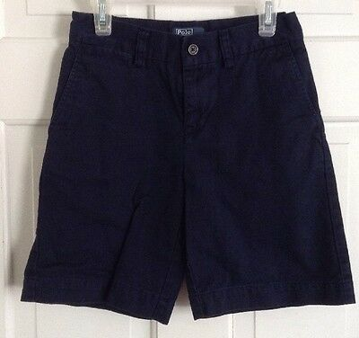 Ralph Lauren Polo Boys Navy Flat Front Dress Shorts - Size 8
