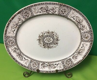 """Antique W. H.  & Co Berry Large Oval Plate 14""""X11"""" . From England"""