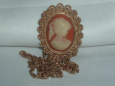 Vintage Fuller Tagged Cameo Pendant/brooch Necklace Chain