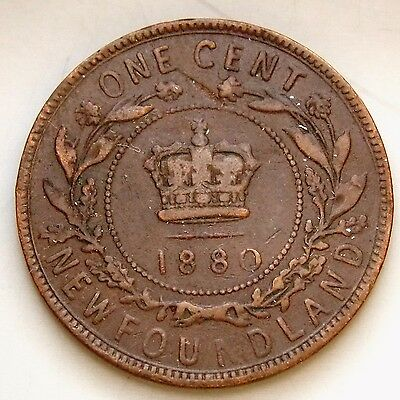 """1880 """"Low 0 In Date"""" Newfoundland Canada Canadian Large 1 Cent Victoria Coin"""