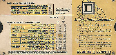 Vintage Square D Company Motor Data Calculator Slide Chart 1964 - Issue 1