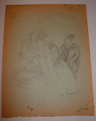 VERY RARE EARLY ORIGINAL DRAWING by WILLIAM MEYEROWITZ ABSTRACT FIGURES LISTED
