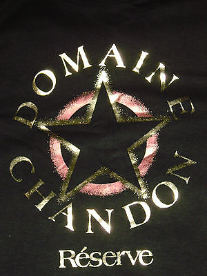 New DOMAINE CHANDON RESERVE Champagne T SHIRT Adult LARGE Keehn Scene METAL FOIL