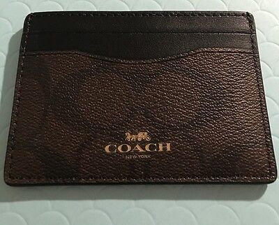 New w/Tag: Coach AUTHENTIC Signature Canvas Card Case/Holder Brown/Black