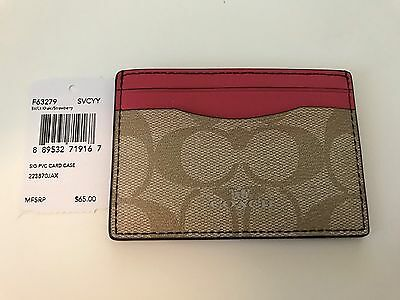 New w/Tag: Coach AUTHENTIC Signature Canvas Card Case/Holder Khaki/Pink
