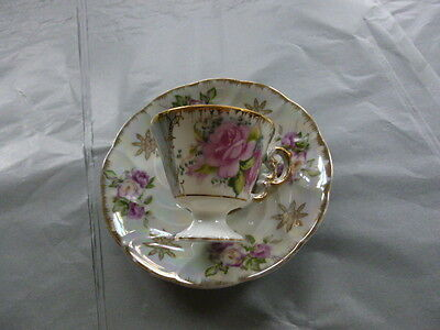 Green Lusterware  Footed Scalloped Teacup Tea Cup and Saucer Trimmed in Gold