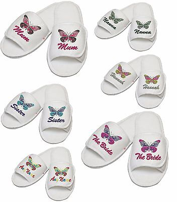Ladies Personalised Embroidered Slipper-Butterfly design any name,thread colour