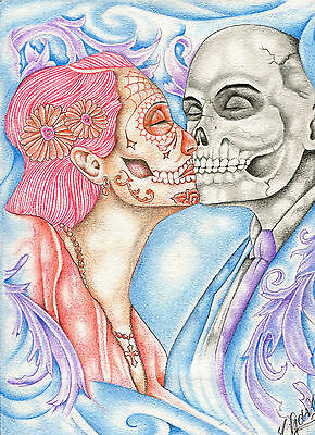 Prison Inmate Artwork Drawing  Day of the Dead Kissing