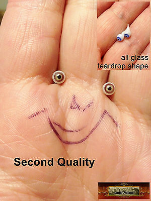 M00427 MOREZMORE Glass Eyes SECONDS 4mm 1:6 1/6 Scale GREEN BROWN Small A60