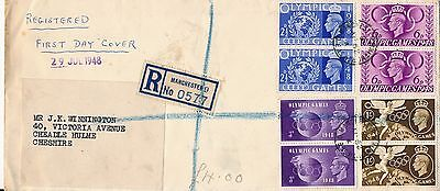GB.1948 Olympics first day cover,  Postmark Manchester, pairs