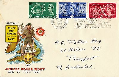 GB. 1957 Scout Jubilee Jamboree First Day Cover,Sutton Coalfield,Rover Moot