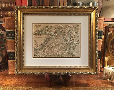 Framed Original 1908 Antique Map VIRGINIA History Family Genealogy WASHINGTON DC