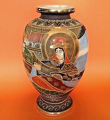 Large Satsuma Immortals Vase - Signed Seizan - Handpainted Gilding Moriage Japan