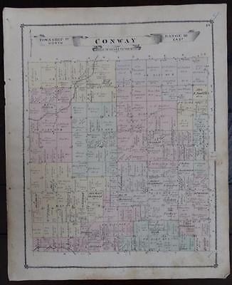 Antique Map~Conway Township~Michigan~1875~Livingston County~Original Old Plat