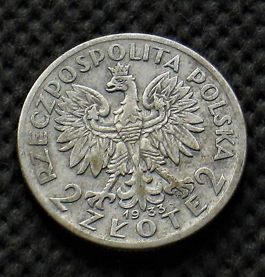 OLD SILVER COIN OF POLAND 2 ZLOTY 1933 JADWIGA SECOND REPUBLIC Ag (B)