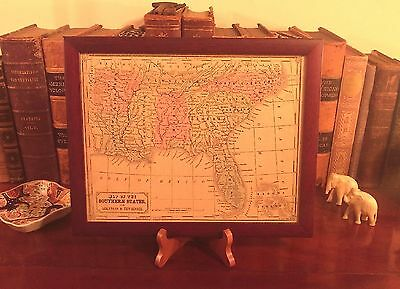 Framed Original 1850 Antique Pre-Civil War Map SOUTHERN STATES Hand-Colored