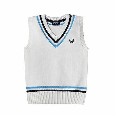 Chaps Boys Medium (10-12) White Blue V-Neck Sweater Vest Cable Knit Top NEW $40
