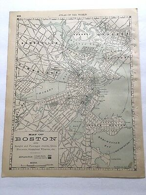 Antique Map of Boston showing freight and passenger depots, 1890 Rand McNally